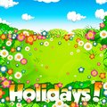 Summer holidays meadow and sky background illustration Stock Photos