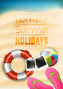 Summer holidays poster happy vector Royalty Free Stock Images