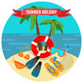 Summer holidays poster with tropical island and travelling accessories