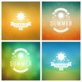 Summer Holidays Retro Typography Labels or Badges Design Royalty Free Stock Photo