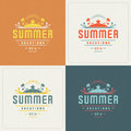 Summer Holidays Retro Typography Labels or Badges and Vector Backgrounds Royalty Free Stock Photo