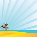 Summer holidays in the south under the palm trees vector illustration Royalty Free Stock Photo