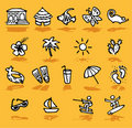 Summer,holidays,sun icons set Royalty Free Stock Photo