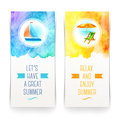 Title: Summer holidays and travel banners