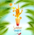 Summer holidays vector illustration with cocktail orange palms sea and sky background Stock Photos