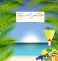 Summer holidays vector illustration with cocktail orange palms sea and sky background Royalty Free Stock Image