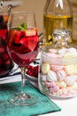 Summer home wine with fruits, sangria cocktail, murshmellows Royalty Free Stock Photo