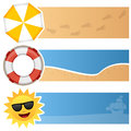 Summer horizontal banners a collection of three summertime with a beach umbrella a lifebuoy and a happy cartoon sun with Royalty Free Stock Photos