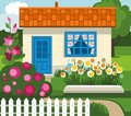 Summer house garden flowers lawn color flat illustration with flower bed flowering shrubs and path at the the blue door and tiled Royalty Free Stock Photo