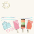 Summer ice cream lollies at the seaside with sunglasses shopping bags undulating waves and a hot sun on a tropical vacation with Royalty Free Stock Photography