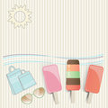 Summer ice cream lollies at the seaside with sunglasses shopping bags undulating waves and a hot sun on a tropical vacation with Stock Image