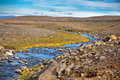 Summer iceland landscape small river stream horizontal shot Royalty Free Stock Photography