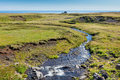 Summer iceland landscape with small river stream horizontal shot Stock Photos