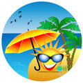 Summer icon the funny sun on the island Stock Photography