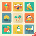 Summer icon set flat design trend retro color vector illust illustration Royalty Free Stock Photos
