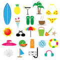 Summer icon set on white background Stock Photos