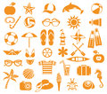 Summer icons big set of vector for and vacation Stock Photos