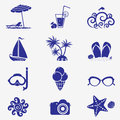 Summer icons blue the on the theme of the sea Stock Photography