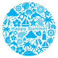 Summer icons in circle set of illustrations Royalty Free Stock Photography