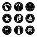 Summer icons monocrhome over white background vector illustration Royalty Free Stock Photography