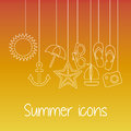 Summer icons over orange background vector illustration Stock Images