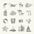 Summer icons representing travelling and relaxing on the beach Royalty Free Stock Photography