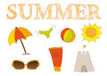 Summer icons set clip art isolated Stock Photography