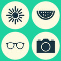 Summer Icons Set. Collection Of Sunny, Melon, Spectacles And Other Elements. Also Includes Symbols Such As Citrus