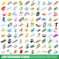 100 summer icons set, isometric 3d style