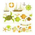 Summer icons set vector illustration eps contains transparencies Stock Photo