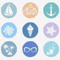 Summer icons the on the theme of the sea Royalty Free Stock Image