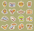 Summer icons traveling tags set Royalty Free Stock Photography