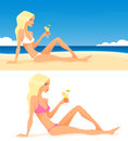 Summer illustration of a girl on the beach theme beautiful cartoon enjoying her drink Royalty Free Stock Images