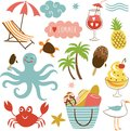 Summer images set vector illustration Stock Photography
