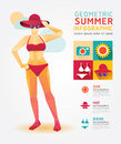 Summer Infographic Geometric Concept Design Colour Illustration