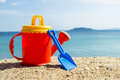 Summer items on the beach Royalty Free Stock Photo