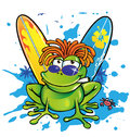 Summer jamaican cartoon frog with surfboard Stock Images