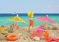 Summer joy polly pocket girl doll having good time on beach creative use of a pocket™ pool party™ polly™ from mattel inc in Royalty Free Stock Photo
