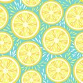Fresh lemon seamless pattern. Vector illustration Royalty Free Stock Photo
