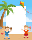 Summer kids on the beach photo frame post card or page for your scrapbook subject two happy with ice cream cone in a day a with a Royalty Free Stock Photos
