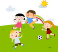 Summer kids playing football Stock Photography