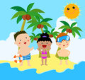 Summer kids three on holiday cartoon Stock Photos