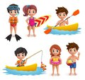 Photo : Summer kids vector characters set. Young boys and girls wearing swimming attire doing beach activities wearing  traditional