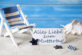 Summer Label With Deck Chair, Muttertag Means Mothers Day Royalty Free Stock Photo