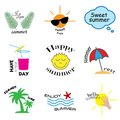 Summer labels, logos, hand drawn tags and elements set for summer holiday, travel, beach vacation, sun. Vector