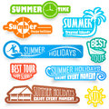 Summer labels set of color vector Royalty Free Stock Image