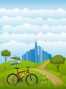 Summer landscape with a bike Royalty Free Stock Image