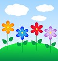 Summer landscape with flowers illustration Stock Image