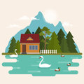 Summer landscape with forest house on the lake Royalty Free Stock Photo