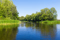 Summer landscape with forest and lake Royalty Free Stock Photo